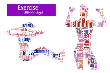 Exercise and diet info-text graphics and arrangement concept on white background