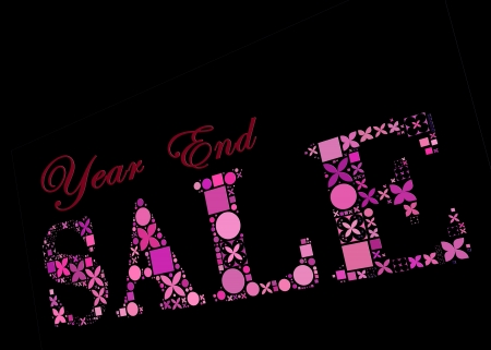 the end of the year: Year End Sale symbol made from creative composition shapes on black background