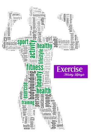 Exercise and fitness info-text graphics and arrangement concept on white background Standard-Bild