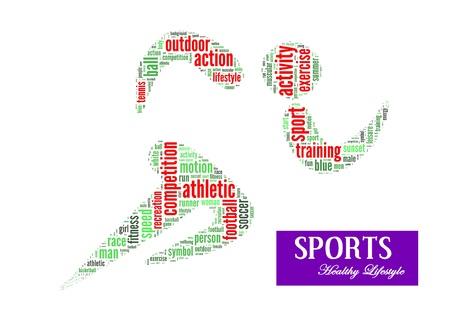 Sports lifestyle info-text graphics and arrangement concept on white background photo
