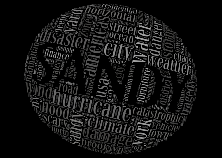 hurricane sandy: Hurricane Sandy concept sphere shape made by typography with black background Stock Photo