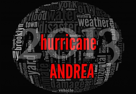 catastrophic: Hurricane Andrea concept sphere shape made by typography on black background