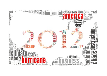 hurricane sandy: Hurricane Sandy concept with America Map made by typography with isolated white background