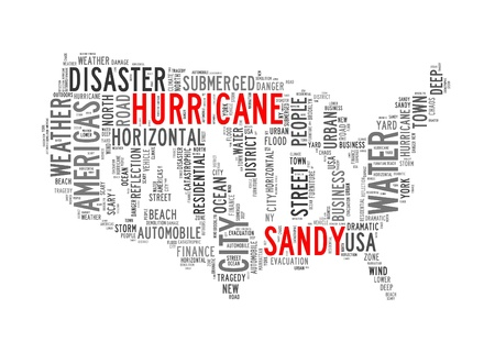 hurricanes: Hurricane Sandy concept with America Map made by typography with isolated white background