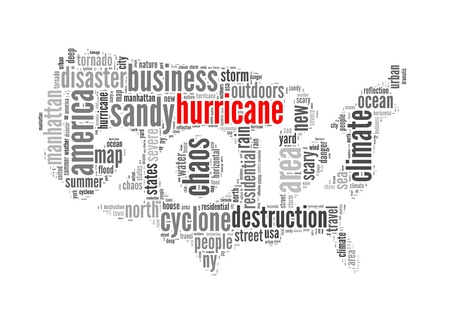 Hurricane Sandy concept with America Map made by typography with isolated white background photo