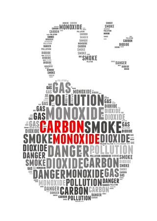 dioxido de carbono: Monóxido de Carbono texto info-gráficos y conceptuales disposición en el fondo blanco