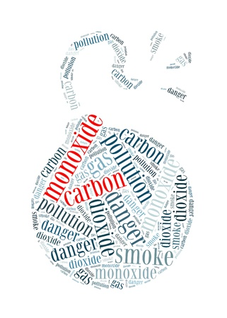 carbon pollution: Carbon Monoxide is the silent killer info-text graphics and arrangement concept on white background