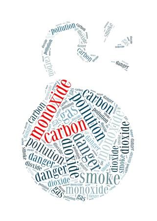 dioxido de carbono: El monóxido de carbono es el asesino silencioso de texto info-gráficos y el concepto de acuerdo en el fondo blanco Foto de archivo