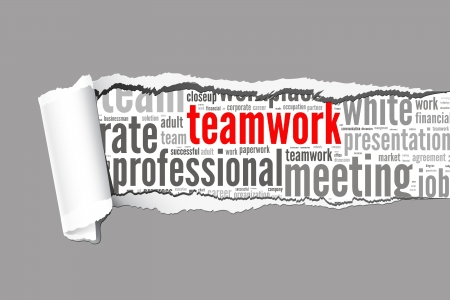 Torn Paper with teamwork info-text graphics and arrangement concept   word cloud  photo