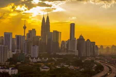 twins: Golden skyline afternoon at Kuala Lumpur city