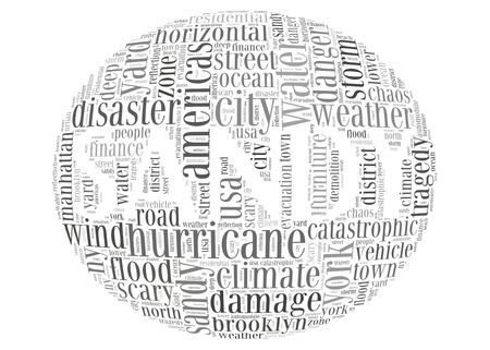 Hurricane Sandy concept sphere shape made by typography on white background photo