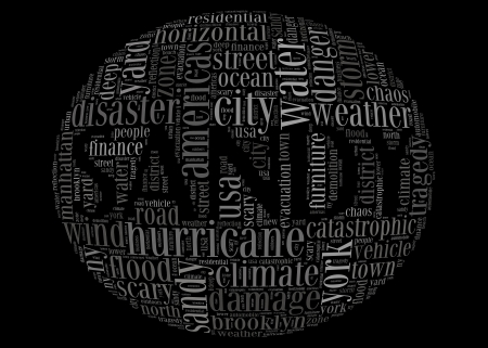 Hurricane Sandy concept sphere shape made by typography on black background photo