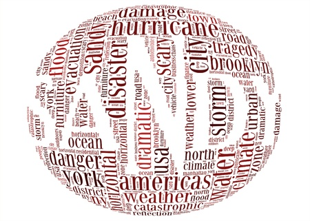 new york map: Hurricane Sandy concept sphere shape made by typography on white background