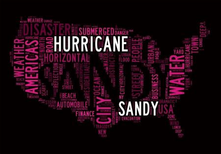 hurricane sandy: Hurricane Sandy concept with America Map made by typography on black background