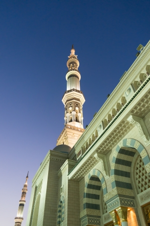 Tower of the Nabawi mosque at the knight Stock Photo