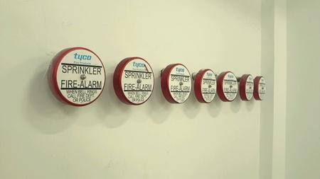 sprinkler alarm: Row of bell fire alarm sprinkler system