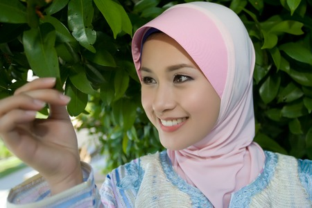 purdah: Muslim girls are happy Stock Photo