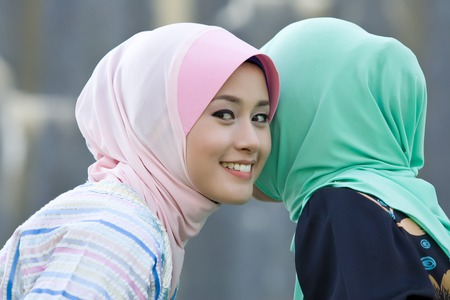 purdah: friendly girls Stock Photo