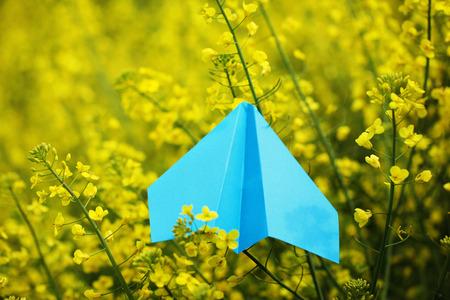 Blue Paper Airplane on yellow background Standard-Bild
