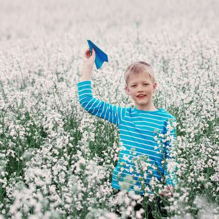 champ de fleurs: Young Boy with paper Plane against blue sky and white Field Flowers
