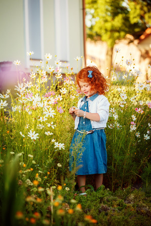 Beautiful curly-headed red Girl in the Blossoming garden in a clear Sunny Day. Stock Photo