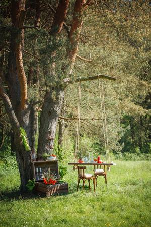 parejas de amor: Photoshoot wedding decor in the magic wood for a loving couple Foto de archivo
