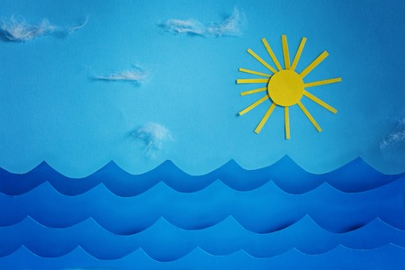cloud drift: Summer background with paper.Sea wave and sun and sky. Stock Photo