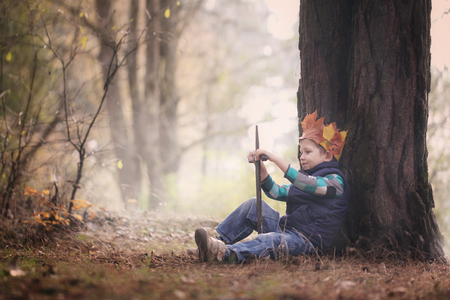 The boy's portrait with a crown on the head and a sword in hands. The thoughtful boy dreams.