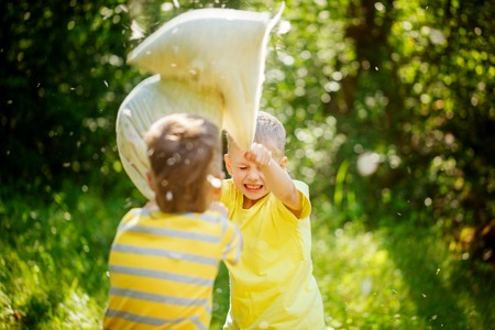 Children fighting together with pillows in a sunny summer garden. Baby boy playing in park. Pillow fight