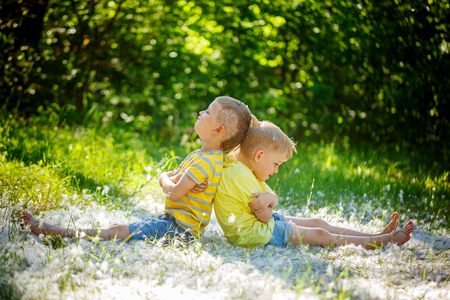 Two little boys , friends ,  resentful kids in summer day . Concept of friendship