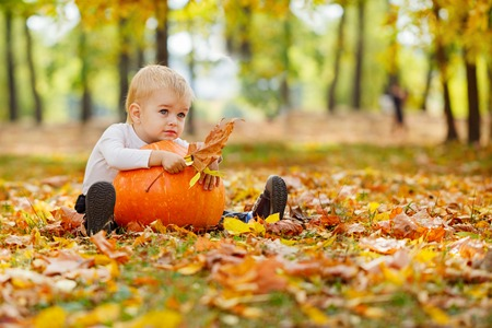 Little  boy with big orange pumpkin in hands sitting on the grass in autumn garden
