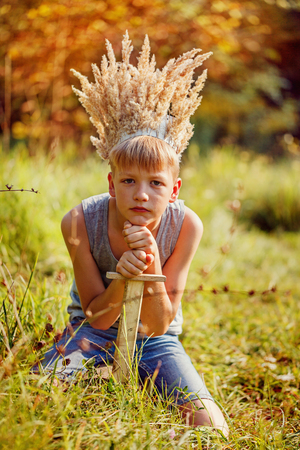 Portrait Boy with a crown on the head and a sword in hands. The thoughtful boy dreams. Stock Photo