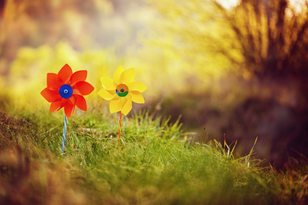 pinwheels: Two orange and yellow pinwheels against nature background in sunny summer day. Stock Photo