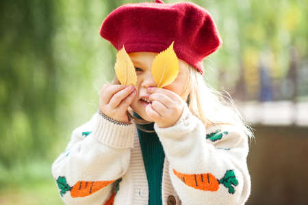 Portrait little smiling girl holding yellow leaves before his eyes in autumn day. Child in red beret and warm sweater in autumn park. Standard-Bild