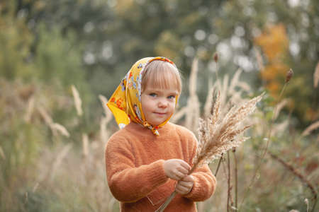 Autumn portrait of beautiful little smiling girl in a yellow shawl in the tall grass