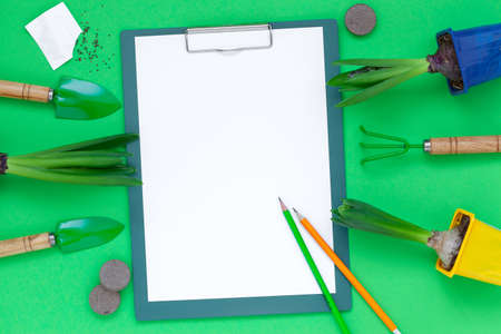 Top view notepad with Gardening tools and pots of hyacinth flowers on green background. Spring garden concept. Layout with free text space flat lay.