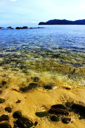 Clear water at Manukan Island Stock Photo