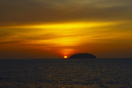 View of sunset at Tg. Arhu Beach Kota Kinabalu Stock Photo