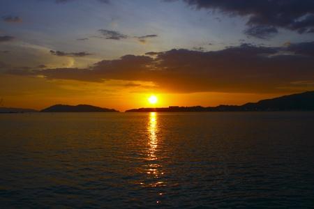 sepanggar: Sunset view at Sepanggar Port Kota Kinabalu Stock Photo
