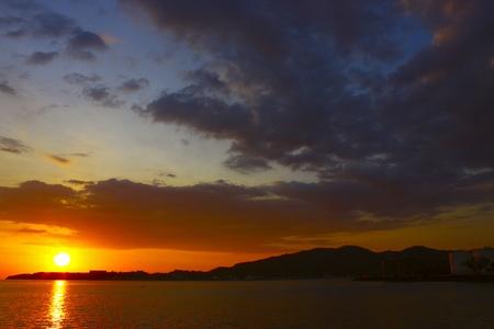 Sunset view at Sepanggar Port Kota Kinabalu photo