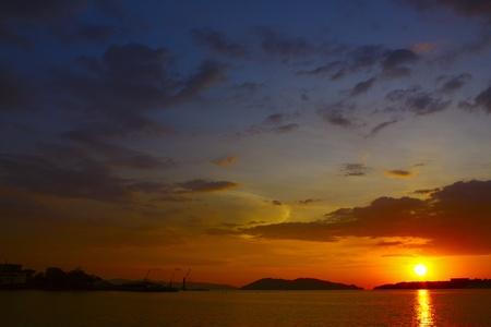 Panormic view of sunset at Sepanggar Port Kota Kinabalu photo
