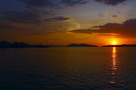 Panormic view of sunset at Sepanggar Port Kota Kinabalu Stock Photo - 8847464