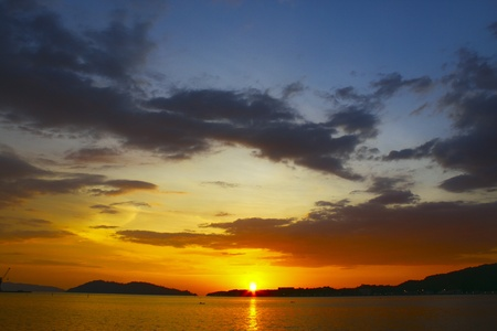 Panoramic view of sunset at Sepanggar Port Kota Kinabalu