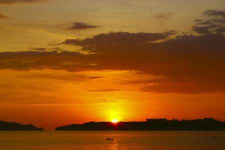 Panoramic view of sunset at Sepanggar Port Kota Kinabalu Stock Photo - 8847465