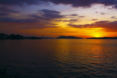 sepanggar: Panoramic view of sunset at Sepanggar Port Kota Kinabalu