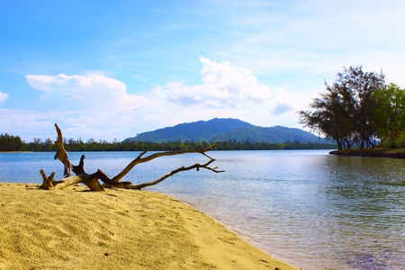 Lansdscape view of sandy beach at Serusup Village, Tuaran, Sabah Stock Photo