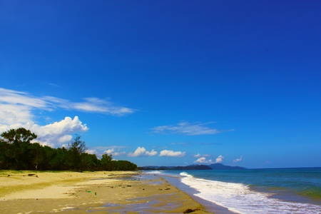 tuaran: Sandy beach with blue sky backround at Dalit Beach, Tuaran, Sabah