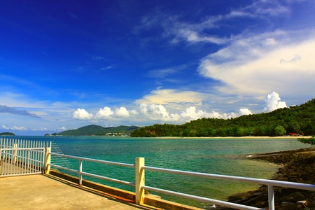 Seascape view in morning time at UMS Jetty, Kota Kinabalu, Sabah, Malaysia Stock Photo - 8971494