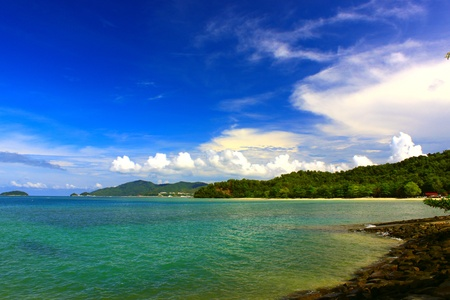 Seascape view in morning time at UMS Jetty, Kota Kinabalu, Sabah, Malaysia Stock Photo