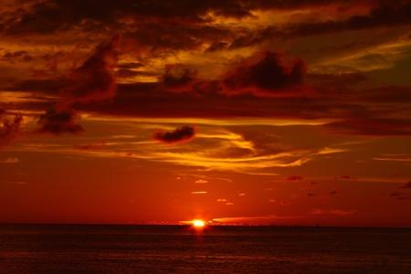 Sunset with red color at Dalit Beach, Tuaran, Sabah, Malaysia Stock Photo